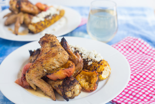 Todd Richards Coffee Rubbed Chicken Wings with Grilled Peaches Corn and Queso