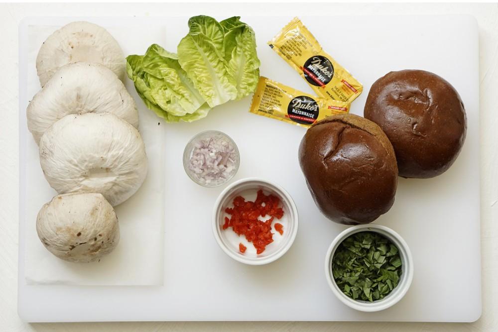 Roasted Portabella Sandwiches with Peppadew Mayo & Arugula Salad