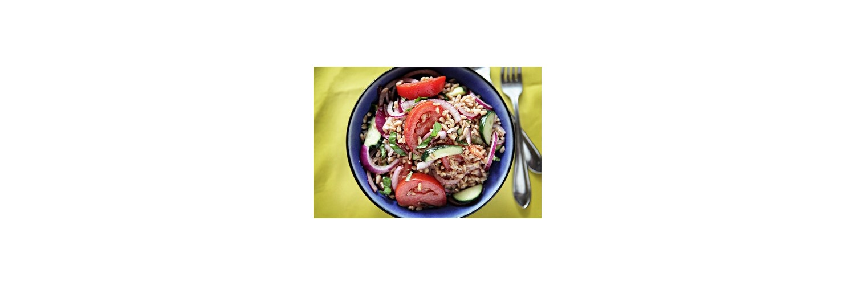 Tomato, Cucumber & Farro Salad, Lamb Kofta with Mint & Garlic Yogurt Sauce