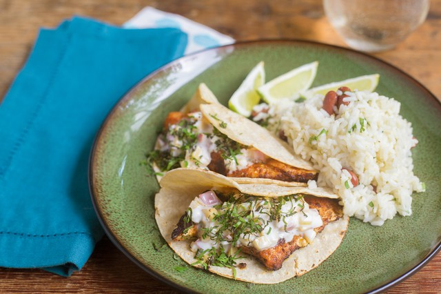 Blackened Catfish Tacos with Peach Crema, Rice, and Beans
