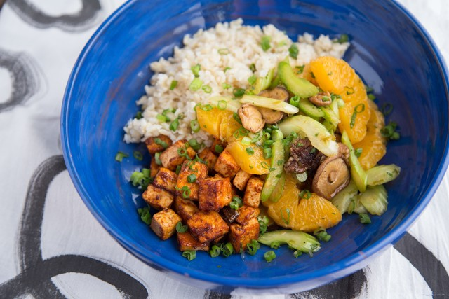 Glazed Tofu with Roasted Shiitake and Citrus Salad