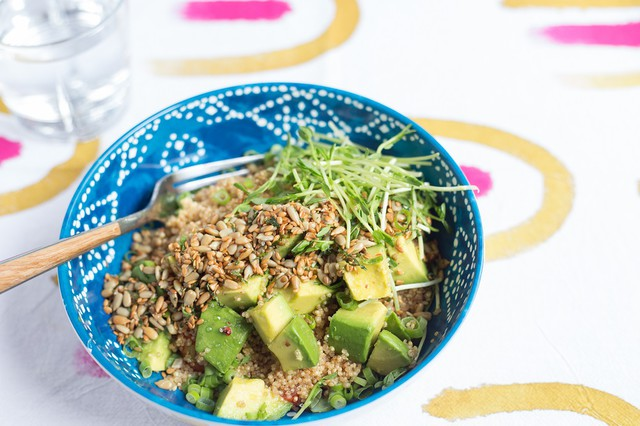 Quinoa Bowl with Sprouts, Avocado, and Toasted Sunflower Seeds