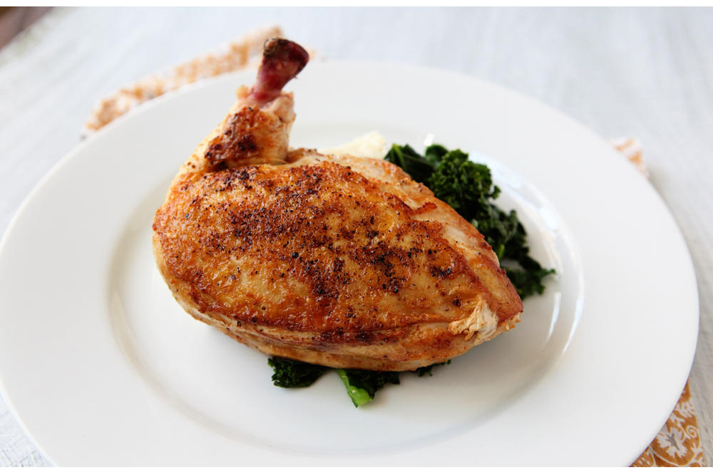 Chicken Breast with Grits and Garlicky Greens