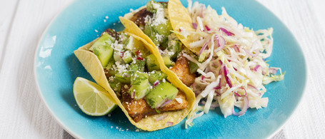 Catfish Tacos with Green Tomato Salsa & Honey-Lime Slaw