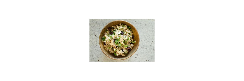 Warm Farro Salad, Spice-Rubbed Flat Iron Steak with Roasted Cauliflower