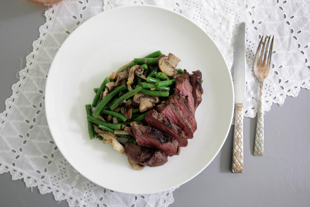 Roasted Hanger Steak with Gingered Green Beans & Peach & Mascarpone