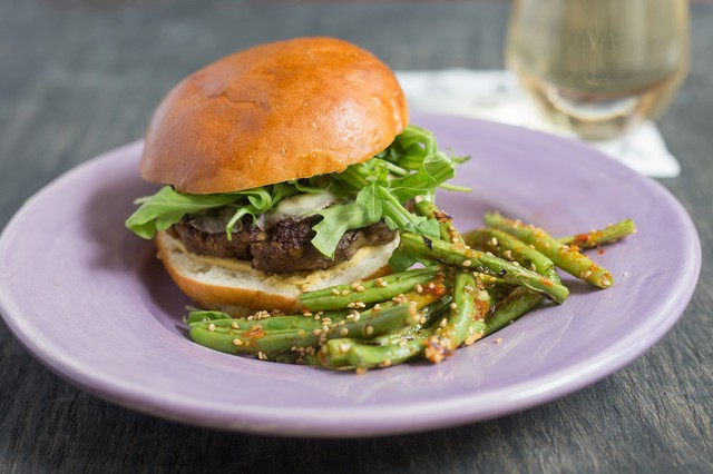 Beef and Mushroom Blended Burger with green beans- Blended Burger Project