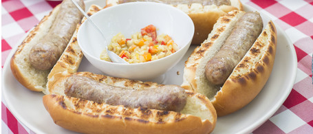 Grilled Brats with Fennel & Sweet Pepper Mostarda