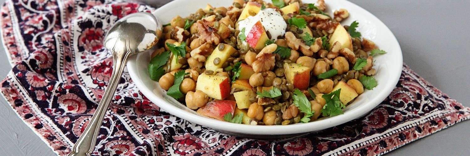 Green Lentils, Chickpeas, Cilantro and Apples with Curry Spice, Topped with Yogurt and Walnuts