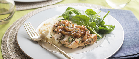 Herbed Chicken with Balsamic-Shallot Sauce & Parmesan Mashed Potatoes