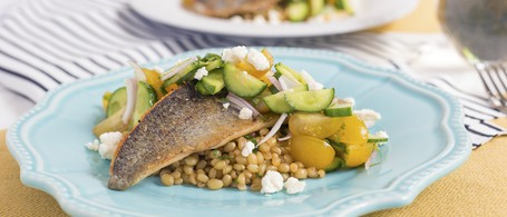 Terry Koval's Trout with Sun Gold Tomato & Cucumber Salad Over Wheat Berries