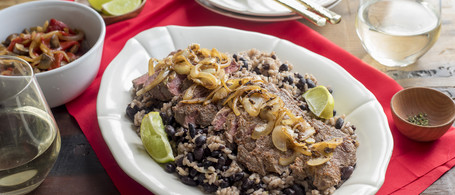 Cuban 'Fried' Steak with Black Beans, Rice & Red Pepper-Mushroom Escabeche