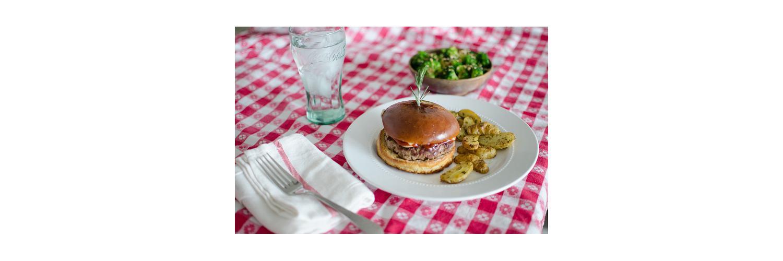 Sautéed Broccoli with Crushed Hazelnuts, Rosemary & Dijon Turkey Burgers, Roasted Fingerling Potatoes