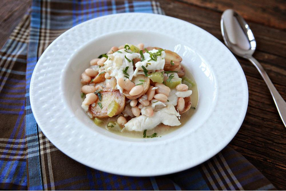 Flounder Stew with Potatoes & White Beans