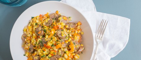 Smoked Chicken Sausage Maque Choux with Corn & Sweet Peppers