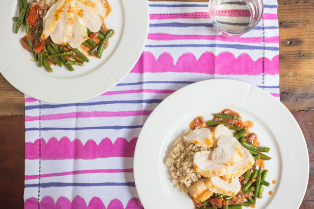 Chicken Breast with Barley, Snap Beans, and Tomato Pan gravy