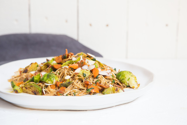 Spiced Brussels Sprouts with Brown Rice Noodles