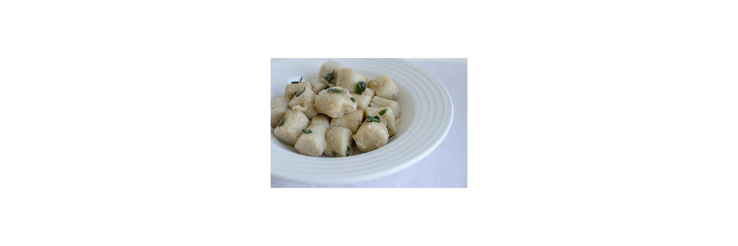 Gluten Free Gnocchi with Sage-Brown Butter Sauce, Romaine Hearts with Balsamic and Parmesan