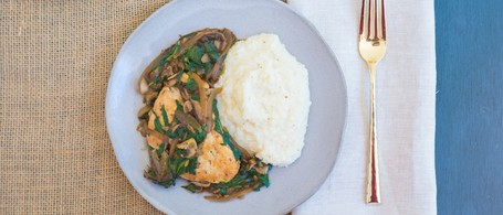 Spinach & Mushroom Smothered Chicken with Grits
