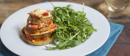 Eggplant & Goat Cheese Stacks with Arugula-Herb Salad