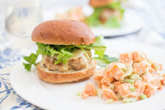 Turkey Burgers with Sweet Potato Salad