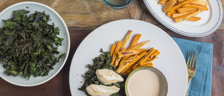 Seared Chicken & Sweet Potato Fries with Sauteed Kale & Mississippi Comeback Sauce