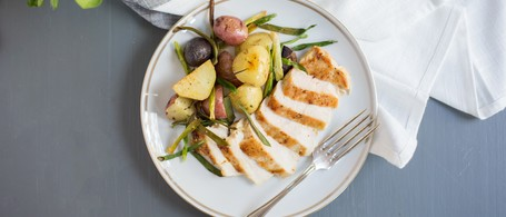 Chicken Breast with Roasted Green Onions & Potatoes