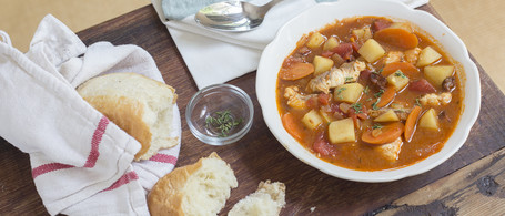 Manhattan-Style Fish Chowder with Applewood-Smoked Bacon