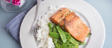 Wild-Caught Sockeye Salmon with Snow Peas & Rice