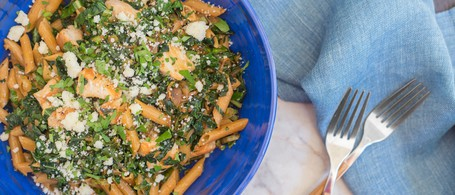 Chicken with Kale, Whole Wheat Penne Pasta, & Romano Cheese