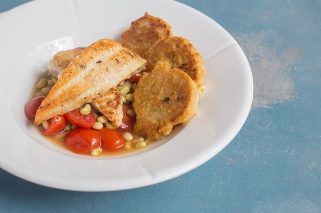 Pan Seared Catfish with Field Peas and Johnny Cakes