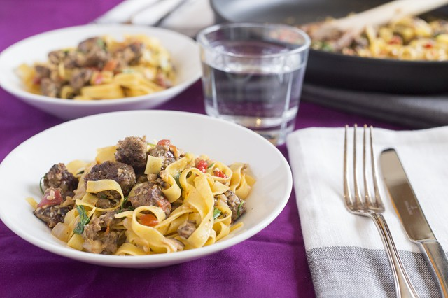 Beef-Mushroom Fettucine with Roasted Peppers