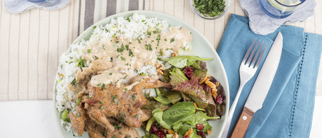 Quail with Herbed Rice, Pan Gravy & Pecan-Cranberry Salad