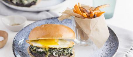 Portobello Mushroom & Farm Egg Sandwich with Spinach, Goat Cheese & Sweet Potato 'Fries'