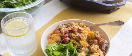Cheesy Turkey Skillet with Orecchiette Pasta & Spicy Greens