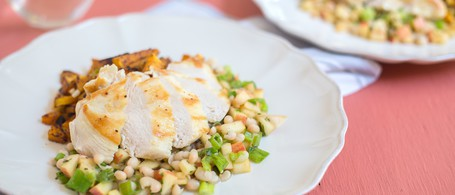 Chicken Breast over Butternut Squash with White Bean & Apple Salad