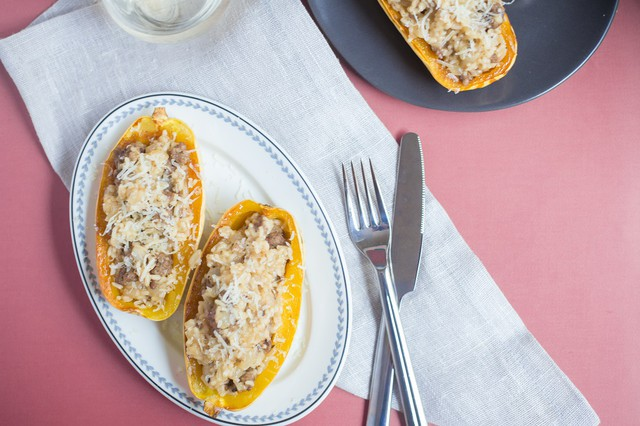 Beef, Rice & Manchego Stuffed Squash