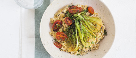 Brown Rice & Lentil Pilaf with Baby Bok Choy & Sweet Tomatoes