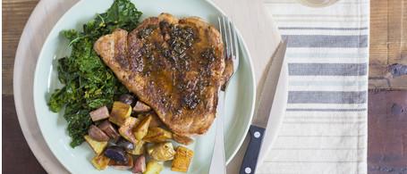 Porterhouse Pork Chop  With Sage Butter, Sautéed Kale & Roasted New Potatoes