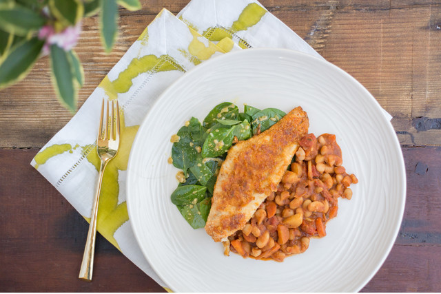 Cornmeal Catfish with White Beans & Spinach Salad