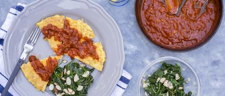 Spanish Potato Omelet with Brava Sauce, Sautéed Spinach & Almonds