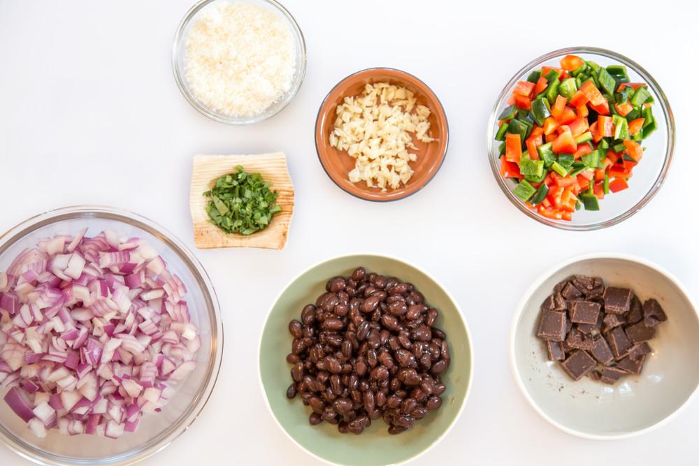 "Black Bean ""Mole"" Chili with Cotija Cheese"