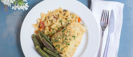 Lemon Caper Skate with Farfalle, Roasted Okra & Tomatoes