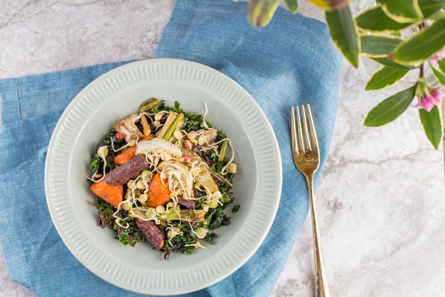 Roasted Spring Vegetables with Kale & Dried Cherries