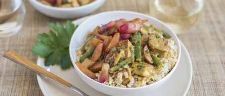 Green Curry Tofu with Snap Beans & Glazed Radishes