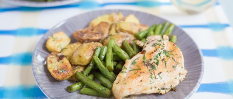 Herbed Chicken with Garlicky Green Beans & Roasted Parmesan Potatoes