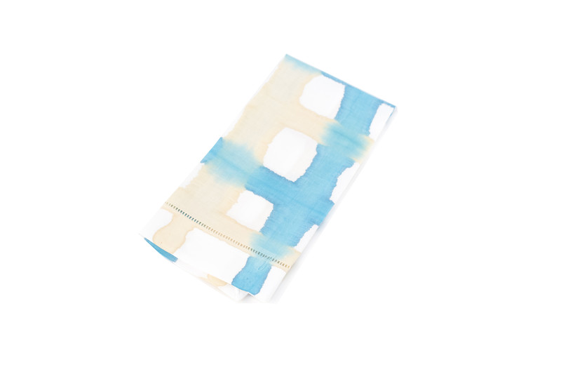A Sensible Habit Linen Napkin Set- Turquoise & Cream