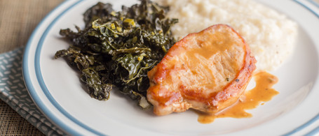 Glazed Pork Chops with Grits & Greens