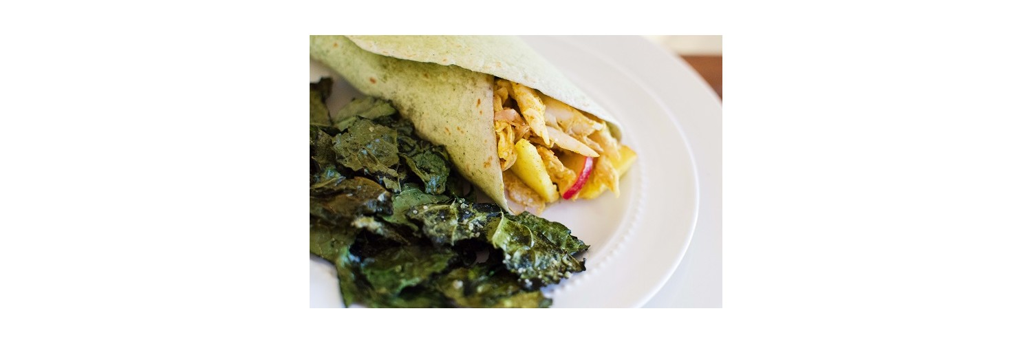 Tangerine & Mint Salad, Crunchy Curry Chicken Wraps with Kale Chips